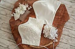 Rúška - Svadobný set: hrebienok, pierko a  svadobné rúška antibakteriálne s časticami striebra pre nevestu a ženícha - 11911065_
