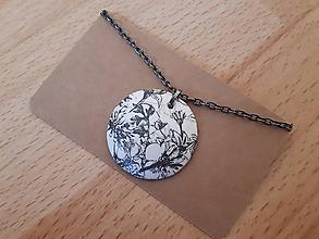 Náhrdelníky - Náhrdelník šedé kvety - 11912361_