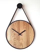 Hodiny - Marc Drop Clock  - Dubové hodiny s čiernym lemom (tichý chod) - 11914068_