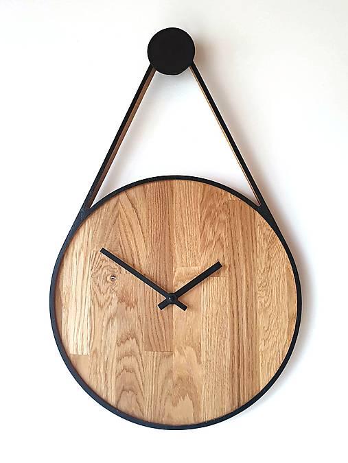 Marc Drop Clock  - Dubové hodiny s čiernym lemom (tichý chod)