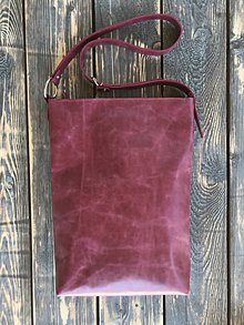 Kabelky - kožená taška_bordo_zľava - 11913049_