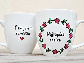 Nádoby - Porcelánový hrnček kvetinkový pre sestru - 11912248_
