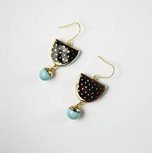 Náušnice - TANA hand made jewellery - keramika/zlato - 11912389_