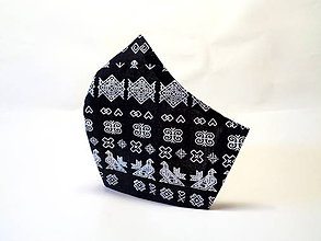 Rúška - Bavlnené rúško čierne Čičmany - 11913619_