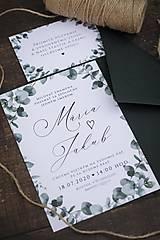 Svadobné oznámenie - Eukalyptus I . ❤