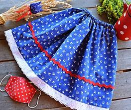 Rúška - Detská suknička / sukňa - modrotlač + rúško - 11911520_