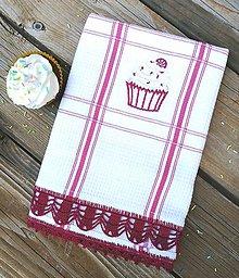 """Úžitkový textil - Utierka s háčkovanou krajkou """"Cupcake"""" - 11911581_"""