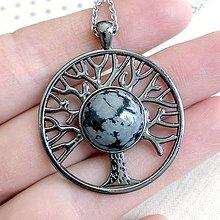 Náhrdelníky - Tree of Life Snowflake Obsidian Gunmetal Necklace / Náhrdelník Strom života s obsidiánom - 11916956_