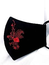 Čierne rúško 2-vrstvové s  červenou výšivkou