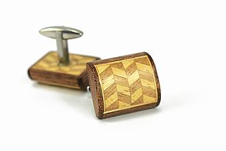 Šperky - Manžetové gombíky drevená mozaika - exotické drevo, nerez - 11915558_