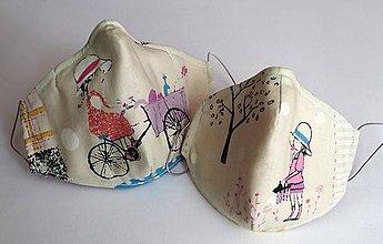 Rúška - Ochranné rúško 3-vrstvové - Mama a dcéra Set vintage - 11917311_