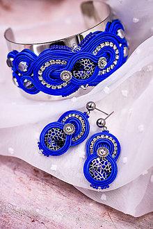 Sady šperkov - Soutache modrý set náušnice a náramok - 11916459_