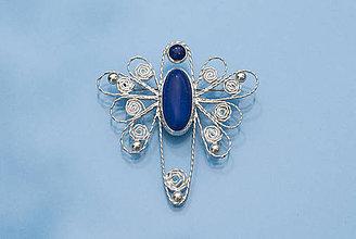 Odznaky/Brošne - Filigránový modráčik s lapisom lazuli - 11918043_