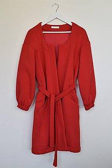 Mikiny - Červený dlhý kardigán - 11915431_