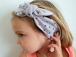 Ozdoby do vlasov - Detská čelenka na viazanie s dekoračným uzlíkom - SIVÁ - 11919241_