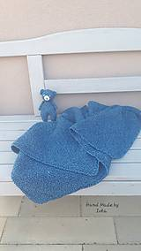 AKCIA : Detská deka + medvedík - tmavá tyrkysová
