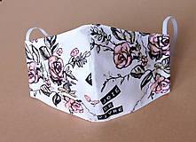 Rúška - Rúško dámske - Biele s ružami - 11920387_