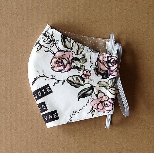 Rúško dámske - Biele s ružami