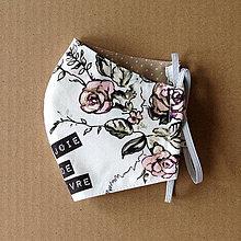 Rúška - Rúško dámske - Biele s ružami - 11920390_