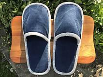 Obuv - Modré riflové papuče so šedým lemom - 11918613_