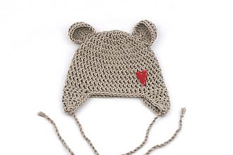 Detské čiapky - Béžová ušianka macko srdiečko EXTRA FINE - 11919888_
