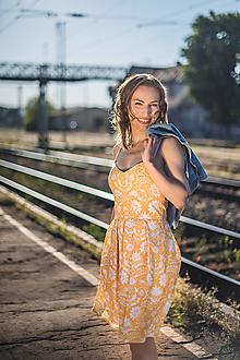 Šaty - Žlté šaty (Vajnorský ľudový ornament zo Slovenska) - 11922261_