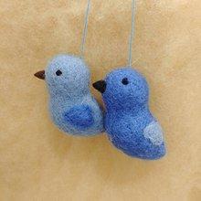 Dekorácie - Modré plstené vtáčiky - 11920304_
