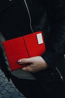 Papiernictvo - A6 zápisník z filcu - čistý, červený - 11920670_