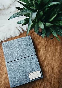 Papiernictvo - A6 zápisník z filcu - čistý, šedý - 11920886_