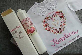Detské oblečenie - Set do krstu- Červený kvetinový s holubičkou - 11925148_