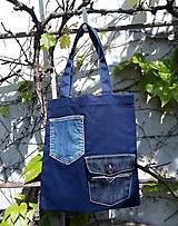 Nákupné tašky - Bavlněná taška s jeansovýma kapsama - 11925371_