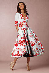 """Šaty - FLORAL FOLK """" Slovenská ornamentika """", spoločenské šaty v dĺžke midi (biela + malinový akvarel kosoštvorec) - 11922889_"""