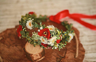 Ozdoby do vlasov - Dvojitý folk kvetinový venček - 11922919_