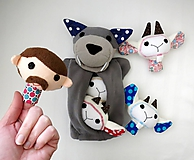 Hračky - Sada maňušiek na prst (Rozprávka o vlkovi /maňuška na ruku s bruškom na zips/ a kozliatkach) - 11927160_