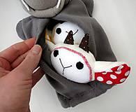Hračky - Sada maňušiek na prst (Rozprávka o vlkovi /maňuška na ruku s bruškom na zips/ a kozliatkach) - 11927161_