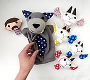 Hračky - Sada maňušiek na prst (Rozprávka o vlkovi /maňuška na ruku s bruškom na zips/ a kozliatkach) - 11927163_