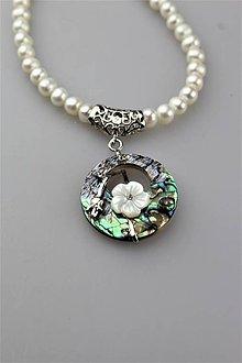 Náhrdelníky - perly náhrdelník s príveskom - 11922901_