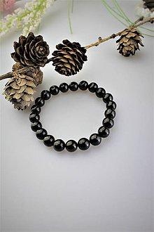Náramky - jantár čierny náramok (čierny jantár - gagát) - 11924899_