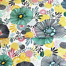 Textil - modrozelené abstraktné kvety, 100 % bavlna Francúzsko, šírka 150 cm - 11923490_