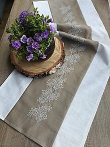 Úžitkový textil - Ľanový obrus - štóla s výšivkou - 11924368_