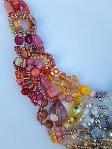 Náhrdelníky - Farebný náhrdelník - ružovo - žlto - strieborný - 11927550_