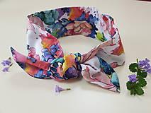 Šatky - Šatka z bavlneného saténu - maľovaná záhrada - 11925175_