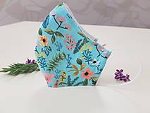 Rúška - Dizajnové bavlnené rúško - Flowers premium - 11927027_