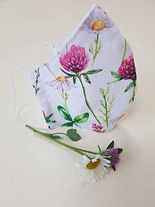 Rúška - Dizajnové bavlnené rúško - Flowers premium (Ďatelinka) - 11926932_