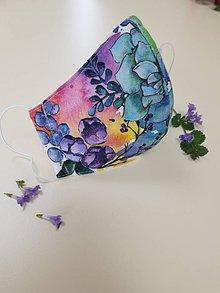 Rúška - Dizajnové bavlnené rúško - Flowers premium (Maľovaná záhrada) - 11926940_
