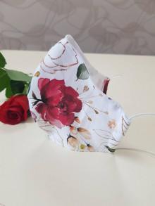 Rúška - Dizajnové bavlnené rúško - Flowers premium (Ruže) - 11926959_