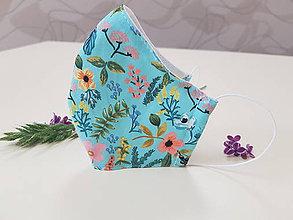 Rúška - Dizajnové bavlnené rúško - Flowers premium (Letna lúka III.) - 11927027_
