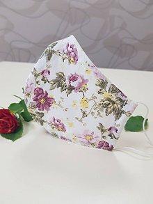 Rúška - Dizajnové bavlnené rúško - Flowers premium (Ružova zahrada) - 11927046_