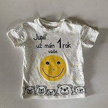 Detské oblečenie - Maľované body k 1. narodeninám (tričko so slniečkom) - 11925787_