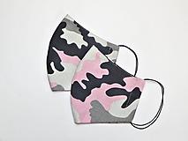 Textilné rúško na tvár dvojvrstvové - Ružový maskáč